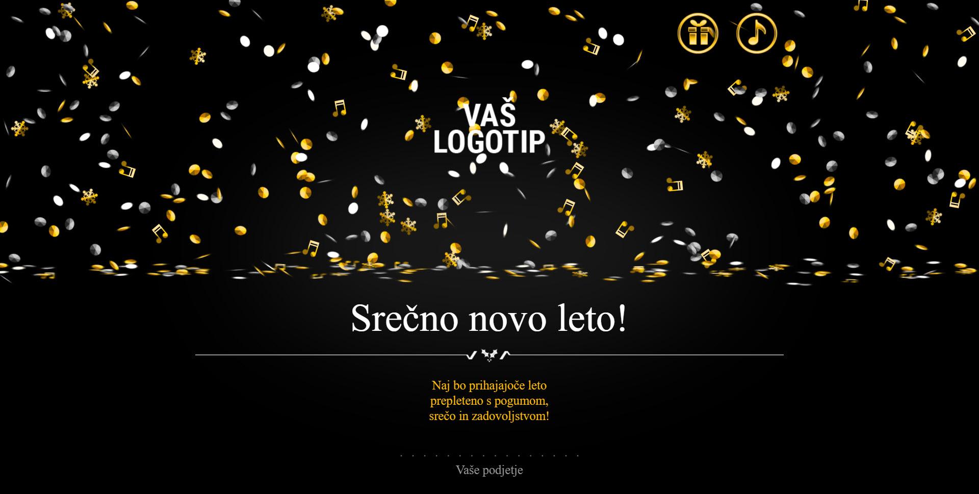 christmas card elegant confetti rain version black - Naročilo voščilnice
