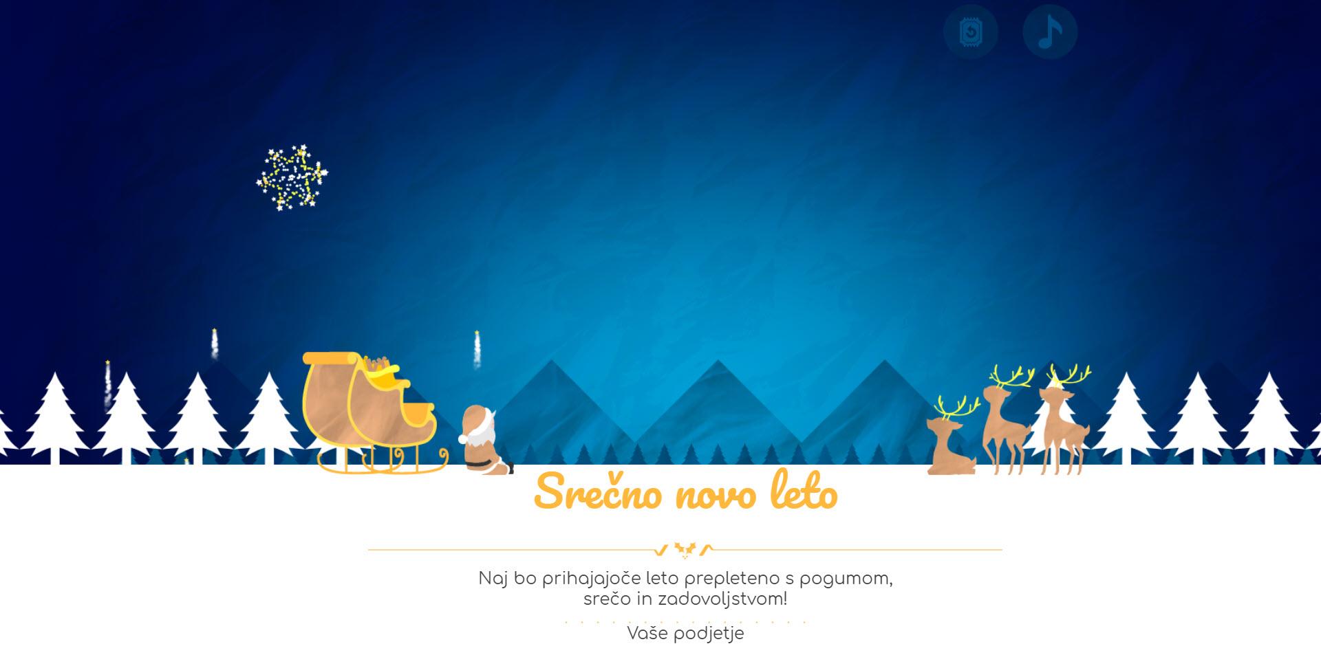christmas card fireworks of santa version yellow - Naročilo voščilnice