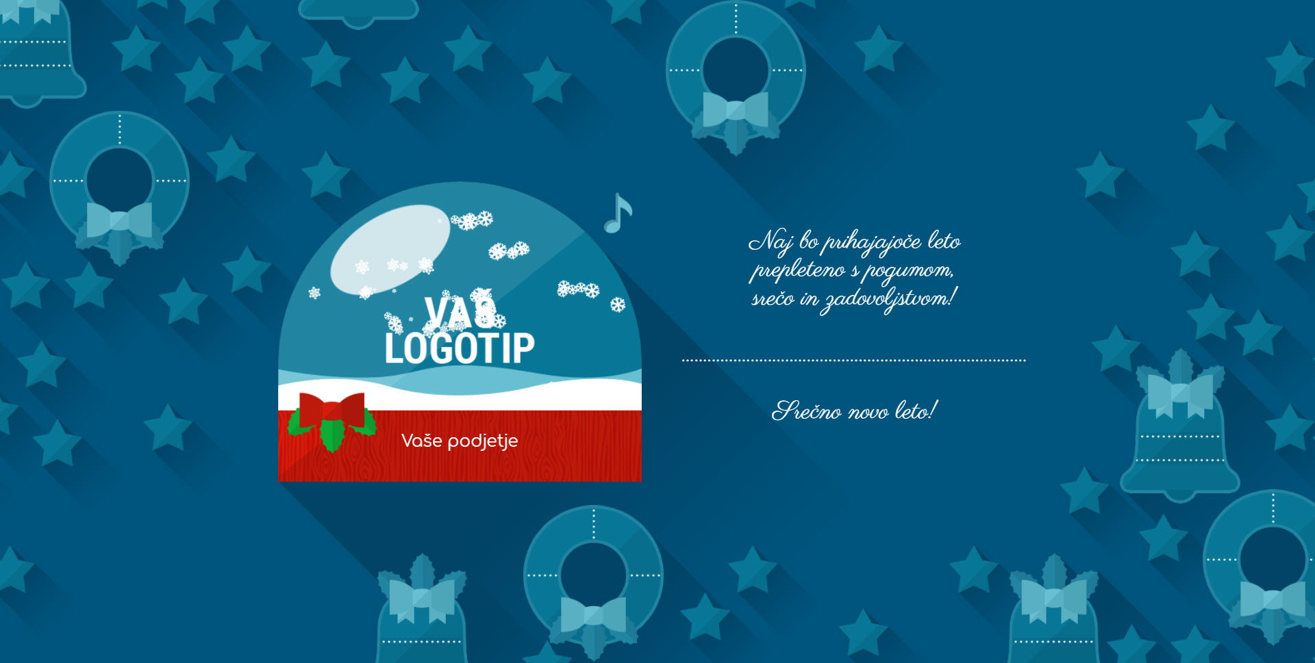 christmas card flat elegant version blue - Naročilo voščilnice