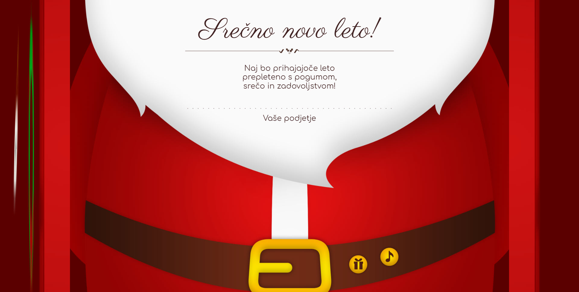 christmas card santa claus open the door version red - Naročilo voščilnice