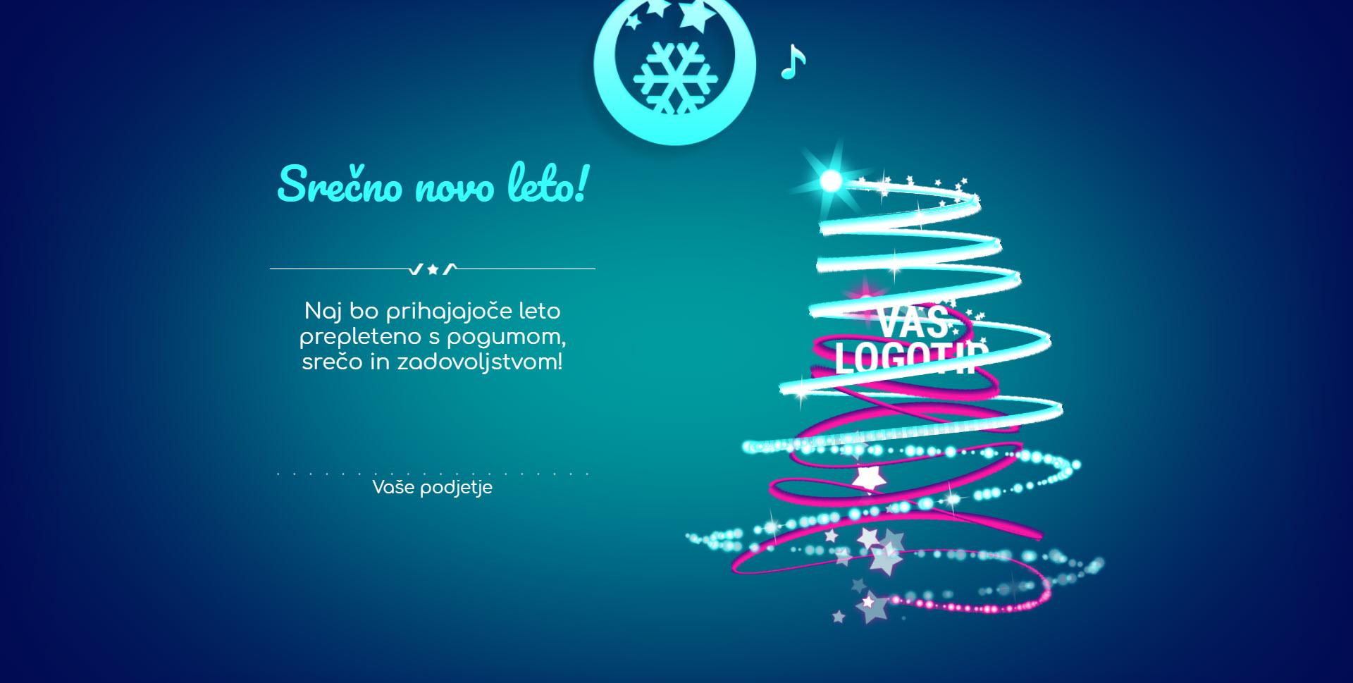 christmas card tree of lights version blue - Naročilo voščilnice