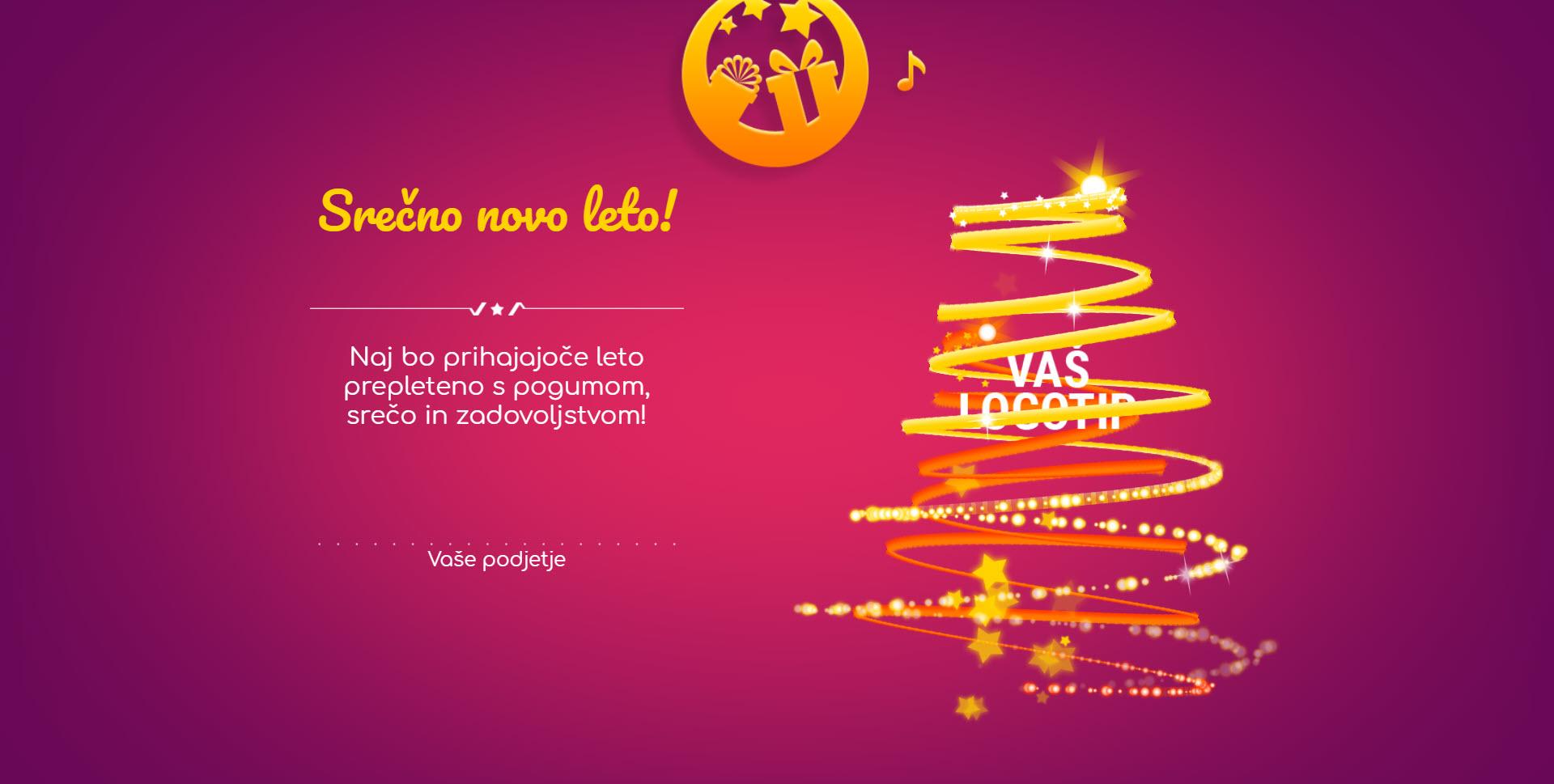 christmas card tree of lights version purple - Naročilo voščilnice