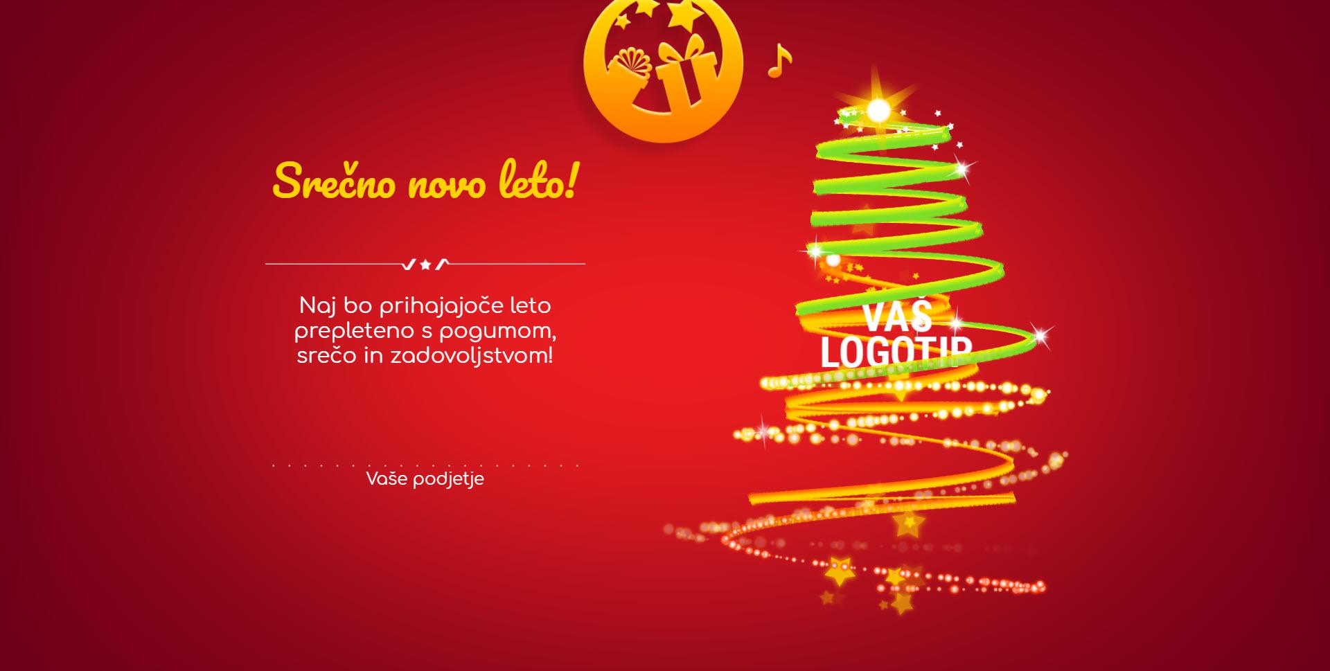 christmas card tree of lights version red - Naročilo voščilnice