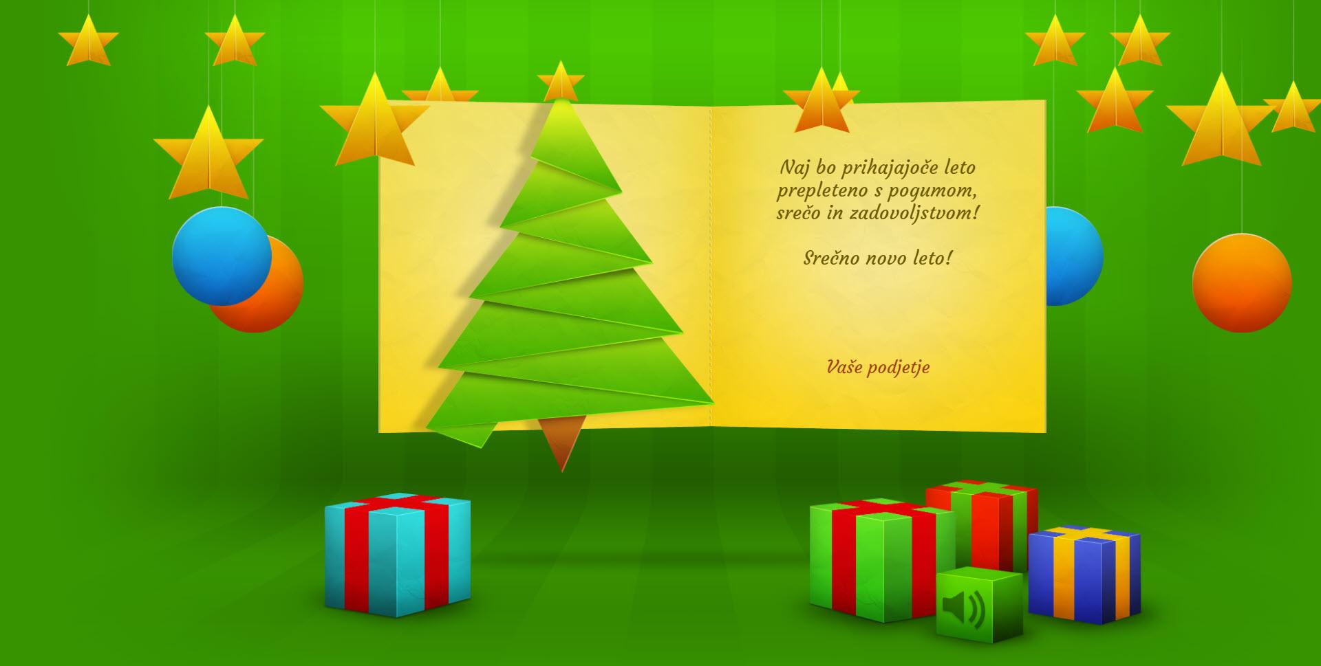 christmas card with many effects version green - Naročilo voščilnice