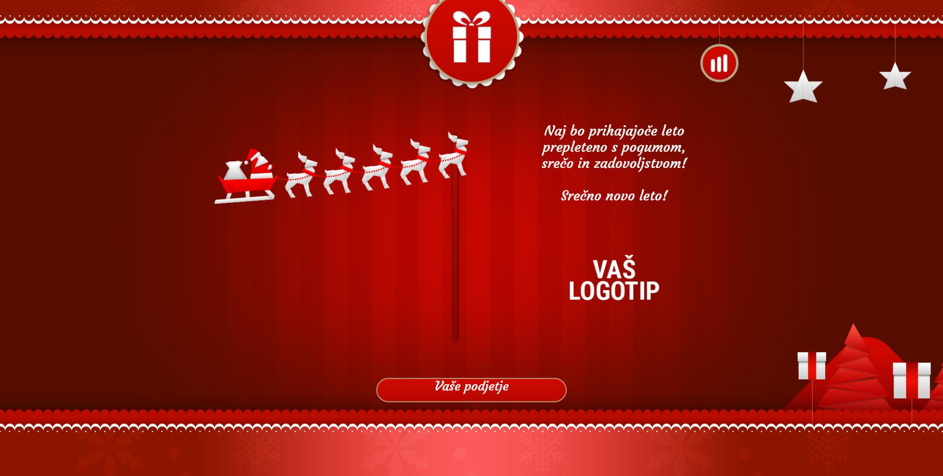 christmas card with sleigh version red - Naročilo voščilnice