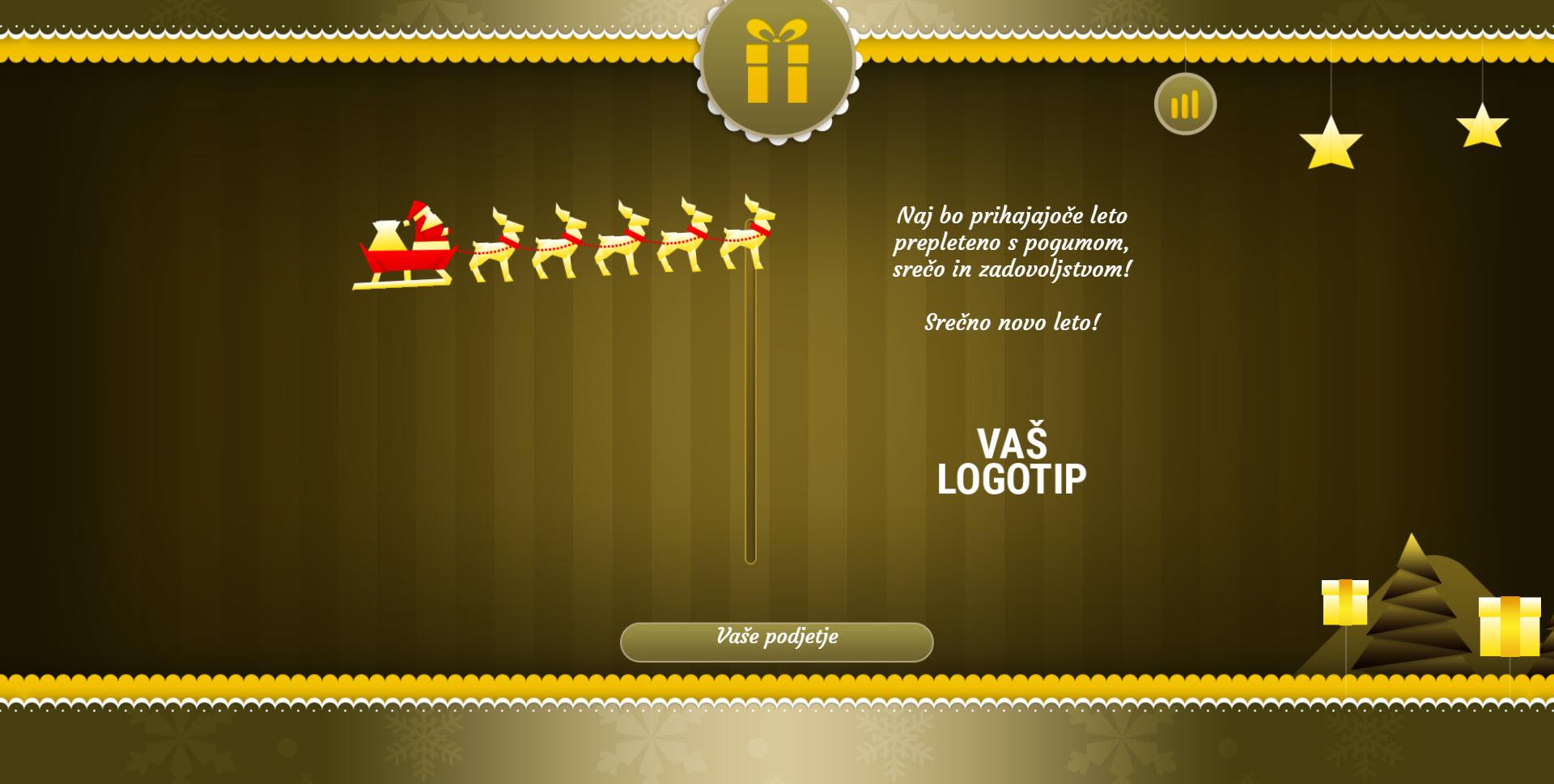 christmas card with sleigh version yellow - Naročilo voščilnice
